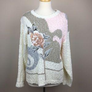 vintage • lightweight floral pullover sweater